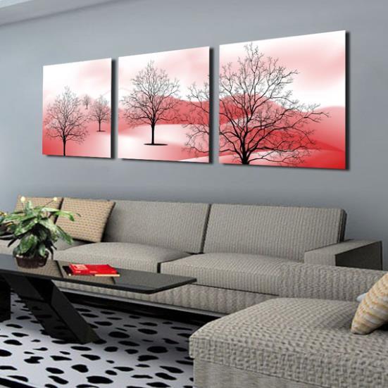 New Arrival Modern Style Lovely Trees Print 3-piece Cross Film Wall Art Prints