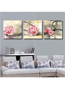 Vintage Style Beautiful Pink Roses Print 3-piece Cross Film Wall Art Prints