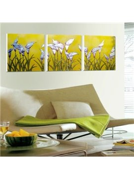 New Arrival Oil-painting Style Lovely Calla Flowers Print 3-piece Cross Film Wall Art Prints