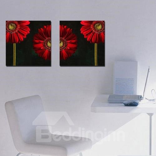 New Arrival Beautiful Red Daisy Flowers Print 2-piece Cross Film Wall Art Prints