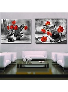 New Arrival Elegant Orange Flowers in Vase Print 2-piece Cross Film Wall Art Prints