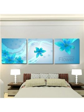 New Arrival Beautiful Blue Lily Flowers Print 3-piece Cross Film Wall Art Prints