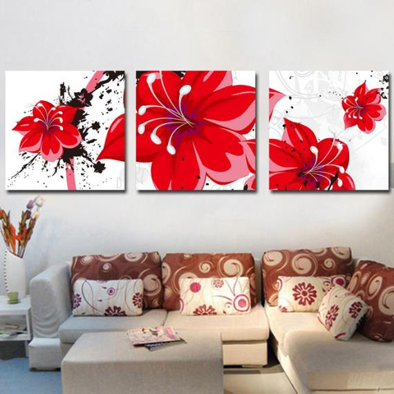 New Arrival Luxurious Big Red Flowers Print 3-piece Cross Film Wall Art Prints