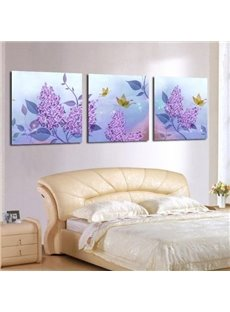 New Arrival Beautiful Purple Flowers and Leaves Print 3-piece Cross Film Wall Art Prints