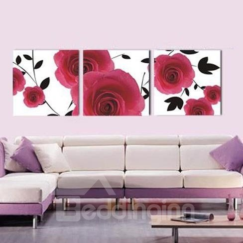 New Arrival Gorgeous Red Roses Print 3-piece Cross Film Wall Art Prints