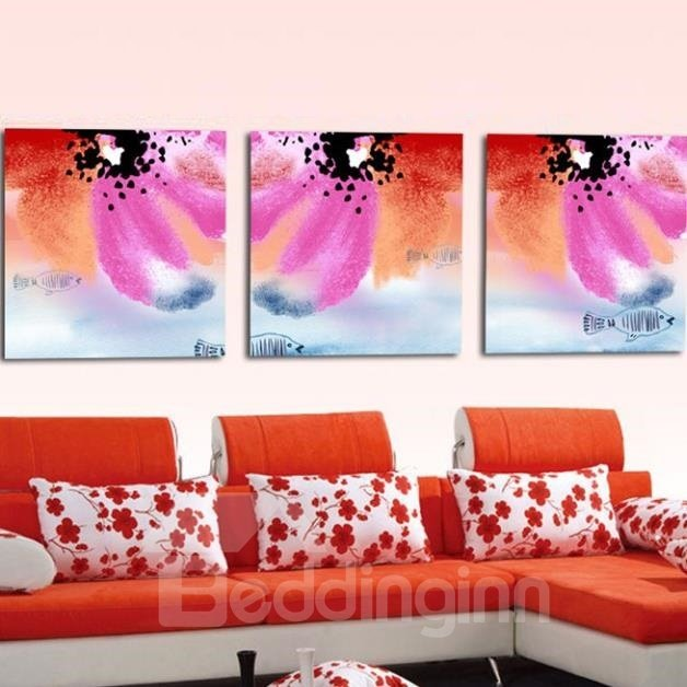 New Arrival Beautiful Colorful Petals and Fish Print 3-piece Cross Film Wall Art Prints