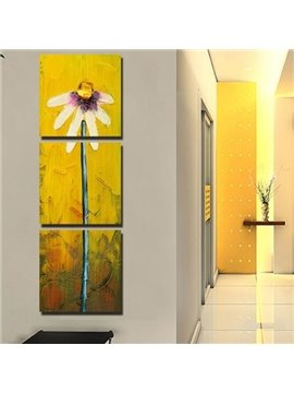 New Arrival Lovely Daisy Flower Painting Print 3-piece Cross Film Wall Art Prints