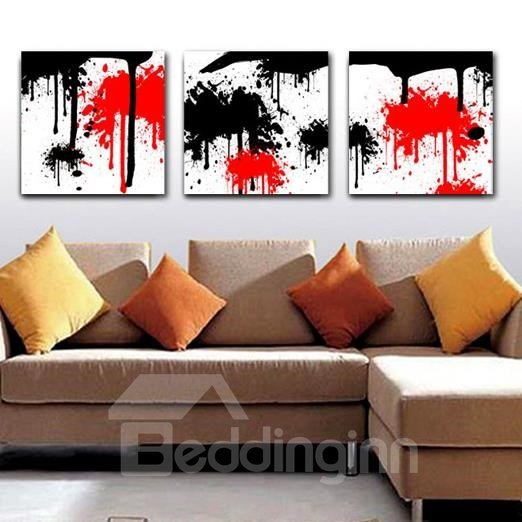 New Arrival Stylish Red and Black Patterns Print 3-piece Cross Film Wall Art Prints