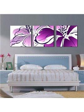 New Arrival Beautiful Purple Flower and Stamen Print 3-piece Cross Film Wall Art Prints