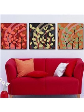 New Arrival Elegant Branches and Leaves Print 3-piece Cross Film Wall Art Prints