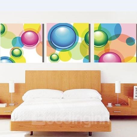 New Arrival Lovely Colorful Bubbles Print 3-piece Cross Film Wall Art Prints