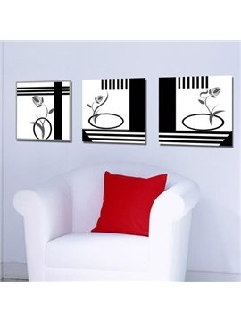 New Arrival Modern Black Stick Figure of Flowers Print 3-piece Cross Film Wall Art Prints