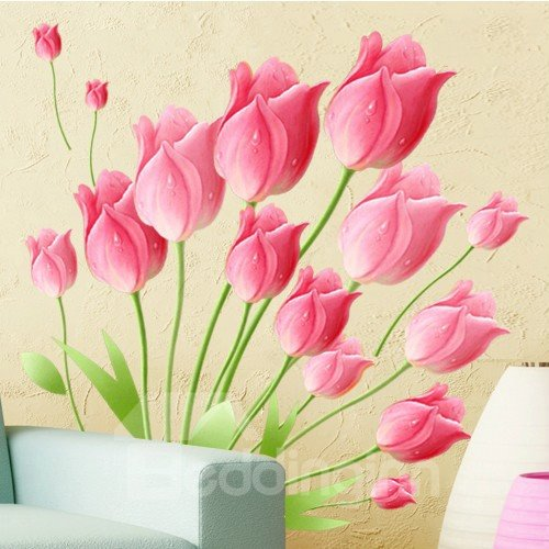 Beautiful Tulips and Buds Print Decorative Wall Stickers