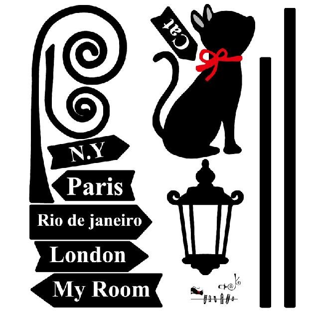 Lovely Fashion Cat and Direction Board Print Wall Stickers