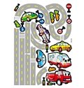 Cars on Road Cartoon Print Kids Room Decoration Wall Stickers