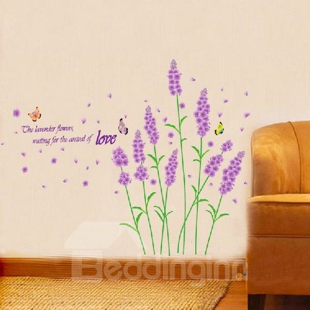 New Arrival Beautiful Purple Lavender Flowers and Letters Print Wall Stickers