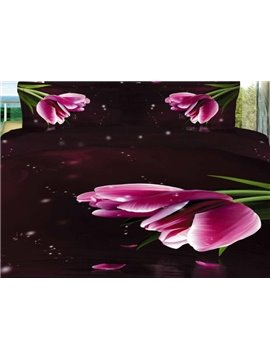 Stunning Pink Tulips Print 4 Piece Bedding Sets