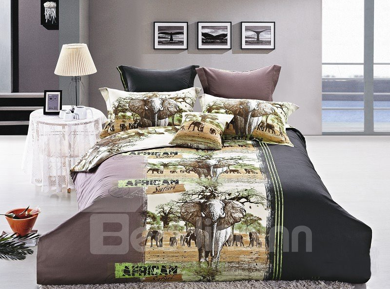 New Arrival Beautiful Elephant Print 4 Piece Bedding Sets