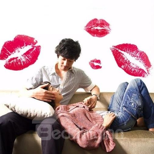 Sexy Red Lips Print Home Decorative Wall Stickers
