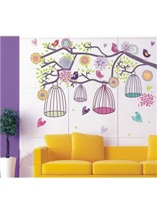 Lovely Dreamy Birds and Cages On the Tree Print Wall Stickers