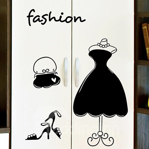 Modern Fashion Princess Dress and High Heel Print Wall Stickers