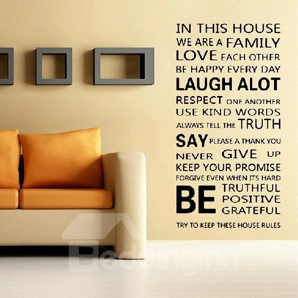 Amazing English Family Poem Print Wall Stickers