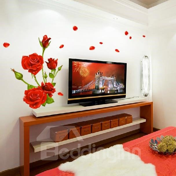 Romantic Rose Blossoms and Petals Print Decorative Wall Stickers