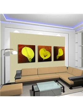 New Arrival Beautiful Yellow Calla Flowers Print 3-piece Cross Film Wall Art Prints
