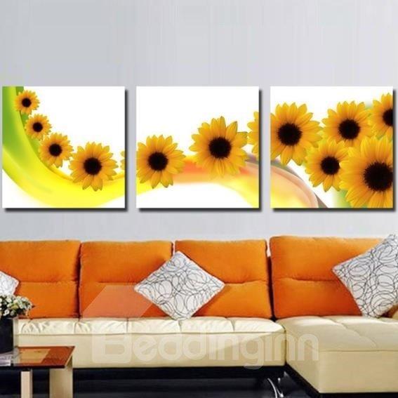 New Arrival Beautiful Sunflowers Print 3-piece Cross Film Wall Art Prints