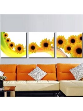 New Arrival Beautiful Sunflowers Print 3-piece Cross Film Wall Art Prints