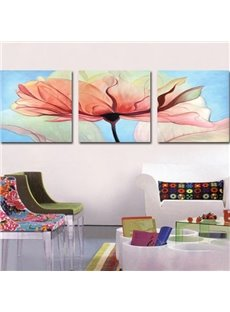 New Arrival Pretty Pink Flower Painting Print 3-piece Cross Film Wall Art Prints