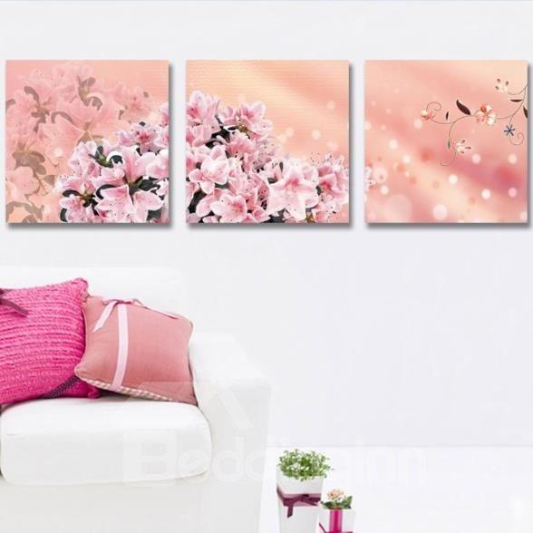 New Arrival Beautiful Pink Lilies Print 3-piece Cross Film Wall Art Prints