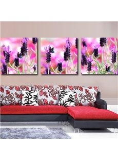 New Arrival Beautiful Dark Purple Lavenders Print 3-piece Cross Film Wall Art Prints