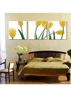 New Arrival Lovely Yellow Tulips Print 3-piece Cross Film Wall Art Prints