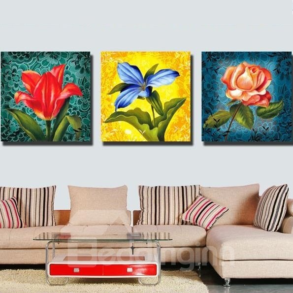 New Arrival Luxurious Colorful Flowers and Green Leaves Print 3-piece Cross Film Wall Art Prints