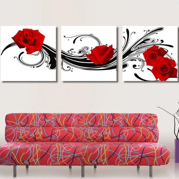 Pretty Red Roses and Black Patterns Print 3-piece Cross Film Wall Art Prints