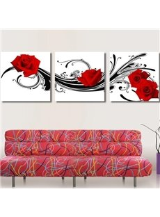 16×16in×3 Panels Red Roses Pattern Hanging Canvas Waterproof and Eco-friendly White Framed Prints