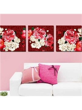 New Arrival Luxurious Red and Beige Peony Flowers Print 3-piece Cross Film Wall Art Prints