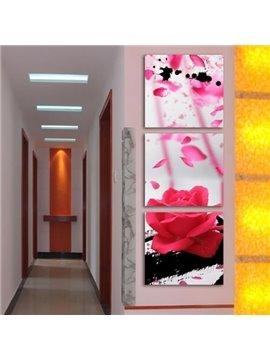 New Arrival Stunning Pink Rose and Petals Print 3-piece Cross Film Wall Art Prints