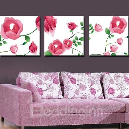 New Arrival Lovely Pink Roses and Green Leaves Print 3-piece Cross Film Wall Art Prints