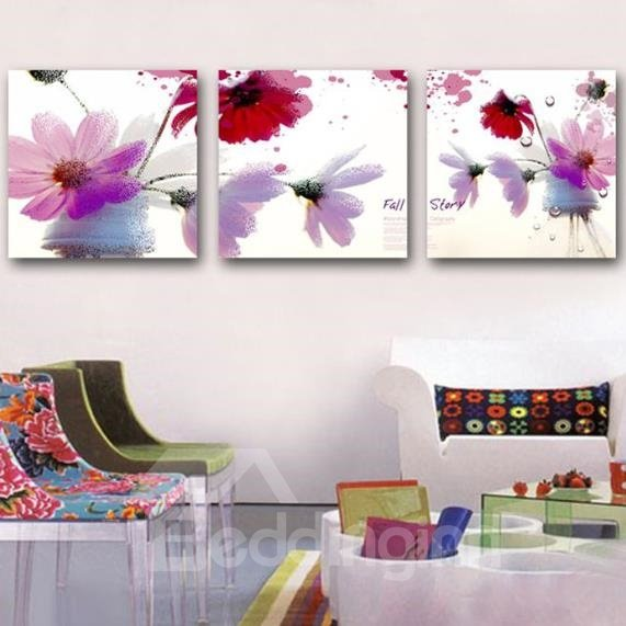 New Arrival Lovely Colorful Flowers and Letters Print 3-piece Cross Film Wall Art Prints