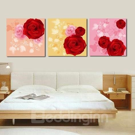 New Arrival Lovely Red and Pink Roses Print 3-piece Cross Film Wall Art Prints