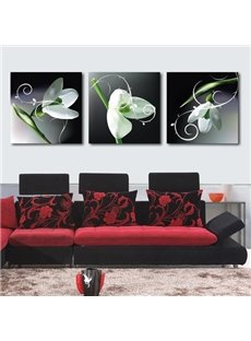 Elegant White Flowers and Green Leaves Print 3-piece Cross Film Wall Art Prints