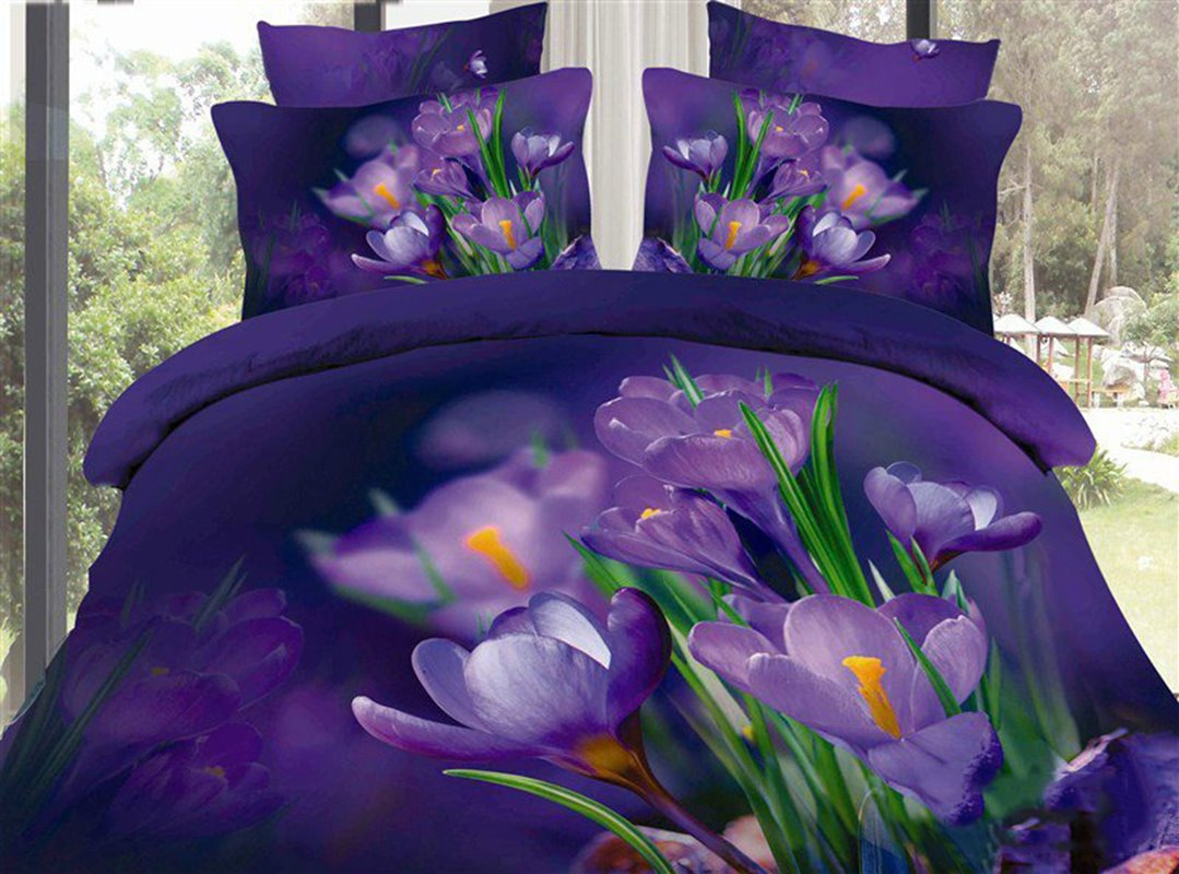 Beautiful Dark Purple Flowers and Green Leaves Print 4 Piece Bedding Sets