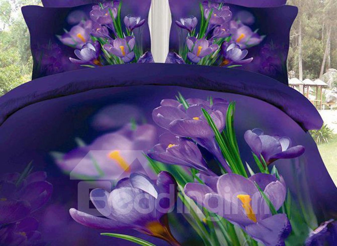 3D Purple Saffron and Green Leaves Cotton 4-Piece Bedding Sets/Duvet Covers