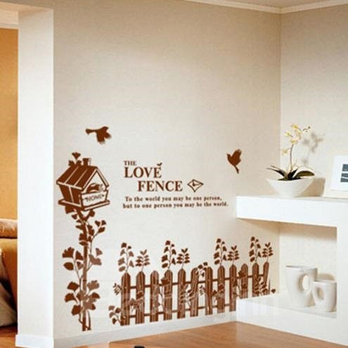 Lovely Country Style Coffee Love Fences and Birds Print Wall Stickers