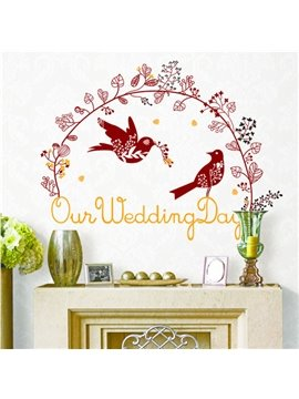 New Arrival Beautiful Flower Rattan and Love Birds Print Wall Stickers