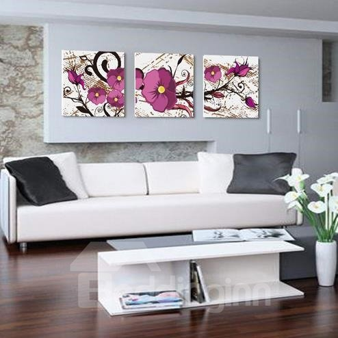 New Arrival Lovely Purple Flowers Painting 3-piece Cross Film Wall Art Prints