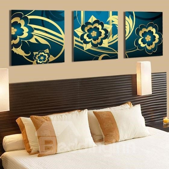 New Arrival Beautiful Golden Floral Patterns Blue Print 3-piece Cross Film Wall Art Prints