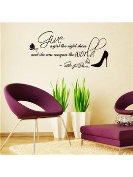 Lovely Fashion Design Letters and Shoe Print Wall Stickers